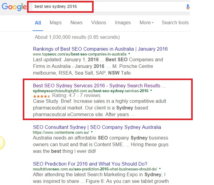 Sydney Search Results SEO